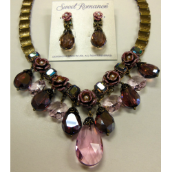 Crystal Rose Collar Necklace and Earrings