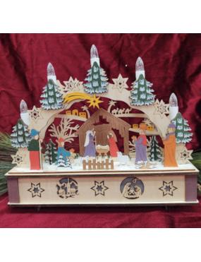 Painted Nativity Schwibbogen